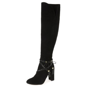 Black Chunky Heel Boots Suede Round Toe Tassels Knee-high Boots