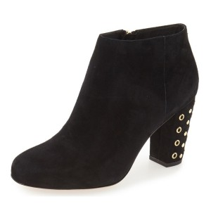 Black Suede Chunky Heel Boots Round Toe Studs Ankle Boots