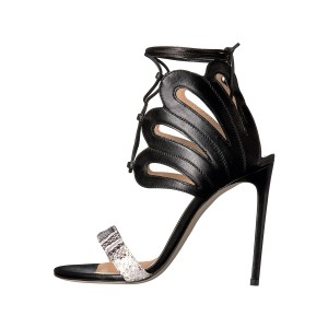 Women's Black and Silver Strappy Stiletto Heels Ankle Strap Sandals
