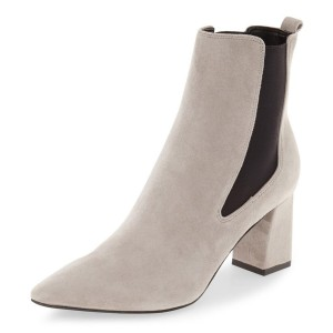 Beige Chelsea Boots Chunky Heel Pointy Toe Suede Shoes for Work