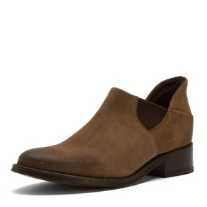 Women's Brown Suede Ankle Boots Round Toe Vintage Shoes