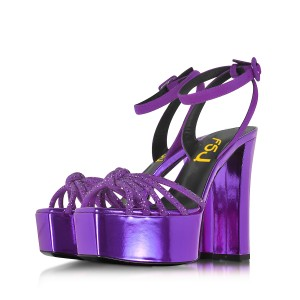 Purple Prom Shoes Chunky Heel Ankle Strap Platform Sandals