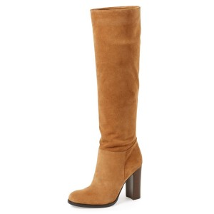 Tan Boots Suede Chunky Heel Vintage Boots