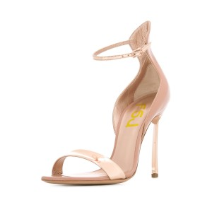 Nude Patent Leather Stiletto Heels Ankle Strap Sandals for Women