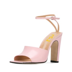 Women's Pink Heels Open Toe Ankle Strap Sandals