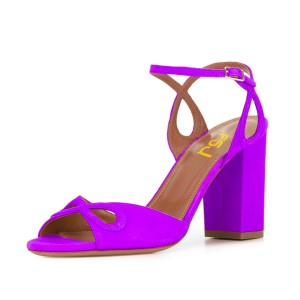 Women's Purple Ankle Strap Heels Prom Chunky Heels Sandals