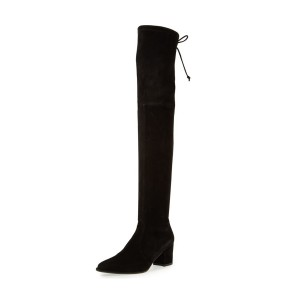 Black Long Boots Suede Chunky Heel Thigh-high Boots
