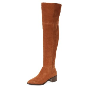 Tan Boots Suede Low Heel Fashion Over-the-Knee Long Boots