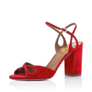 Red Heels Ankle Strap Sandals Form Shoes for Prom