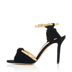 Women's Black and Golden  Suede Stiletto Ankle Strap Sandals