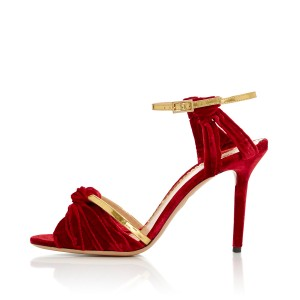 Burgundy and Golden Ankle Strap Sandals Suede Open Toe Stiletto Heels