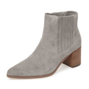 Grey Poiny Toe Suede Chunky Heel Boots US Size 3-15