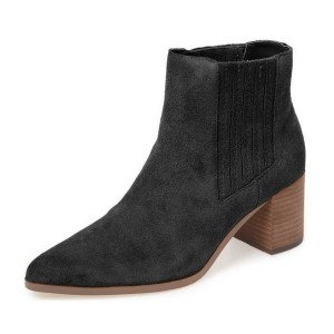 Black Suede Short Boots Pointy Toe Wooden Block Heel Ankle Boots