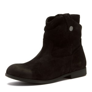 Black Suede Flat Ankle Boots Round Toe Vintage Short Boots