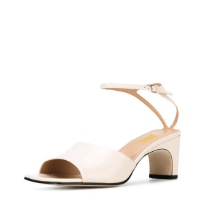 Women's White Heels Ankle Strap Office Chunky Heel Sandals
