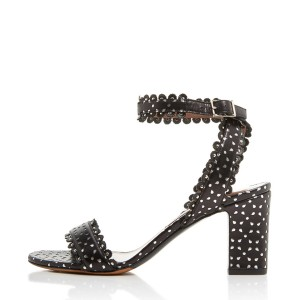 Black and White Carve Pattern Open Toe Ankle Strap Heels Sandals