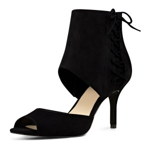 Black Summer Boots Peep Toe Cutout Kitten Heels