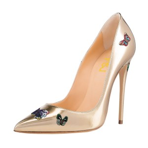 Champagne Commuting Pointed Toe Low-cut upper Stiletto Heels Pumps