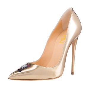 Women's Champagne Office Heels Pointy Toe Stiletto Heels Pumps Shoes