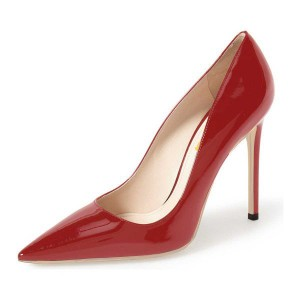 On Sale Red Office Heels Patent Leather Pointy Toe Stiletto Heel Pumps