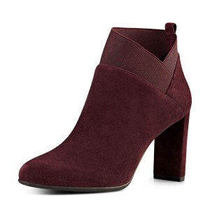 Maroon Suede Boots Chunky Heel Fashion Short Boots US Size 3-15