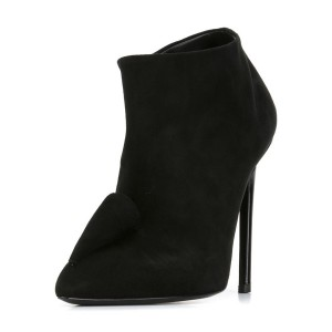 Black Short Boots Suede Pointy Toe Stiletto Heel Ankle Booties