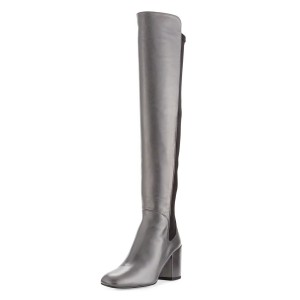 Silver Square Toe Boots Block Heel Over-the-Knee Long Boots