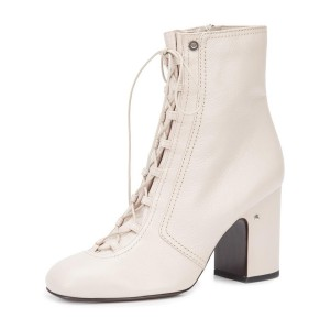 2019 Fall Ivory Chunky Heel Boots Lace up Round Toe Ankle Boots