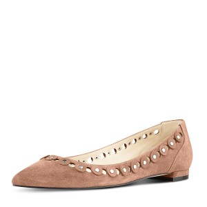 Old Pink Studs Shoes Suede Pointy Toe Flats by FSJ