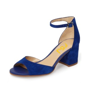 Navy Ankle Strap Sandals Suede Peep Toe Block Heels