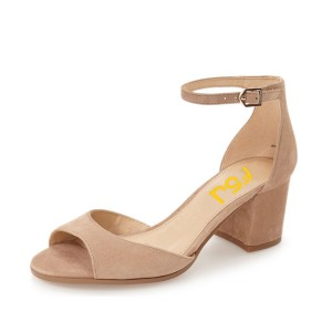 Nude Block Heels Sandals Peep Toe Suede Ankle Strap Sandals