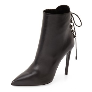 Black Stiletto Boots Pointy Toe Back Lace up Booties with Silver Studs