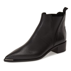Black Chelsea Boots Pointy Toe Slip-on Chunky Heel Ankle Boots