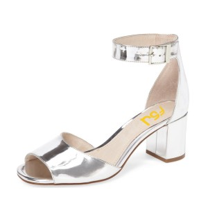 Women's Silver Patent Leather Peep Toe Heels Ankle Strap Sandals