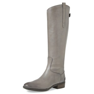 Grey Riding Boots Back Zipper Low Heel Fashion Knee Boots US Size 3-15