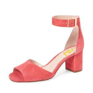 Peach Pink Chunky Heel Sandals Ankle Strap Suede Sandals