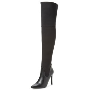 Black Thigh High Heel Boots Pointy Toe Stiletto Heel Long Boots