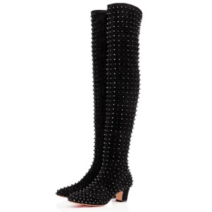Black Chunky Heel Boots Rivets Pointy Toe Ove-the-Knee Boots