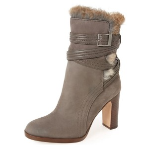 Taupe Boots Round Toe Chunky Heel Strappy Winter Fur Boots