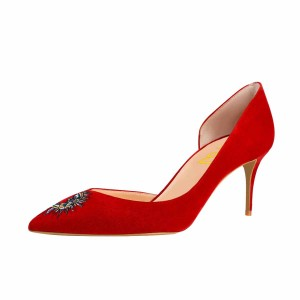 Women's Red Embroidery Pointy Toe Stiletto Heels Suede D'orsay Pumps