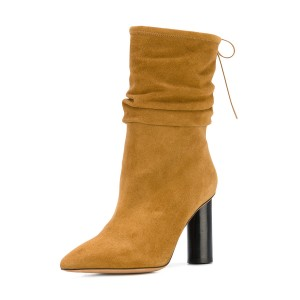 Mustard Slouch Boots Cylindrical Heel Pointy Toe Suede Mid Calf Boots