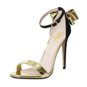 Gold Metallic Heels Ankle Strap Open Toe Bow Stiletto Heel Sandals