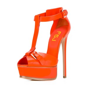 Orange T Strap Sandals Peep Toe Platform Stiletto Heels