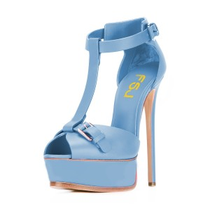 Light Blue T Strap Sandals Peep Toe Platform Stiletto Heels
