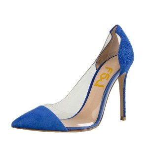 Blue Suede Clear Heels Pointed Toe Stiletto Heel Pumps