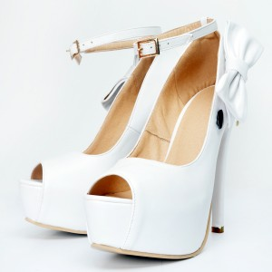 White Ankle Strap Heels Peep Toe Platform Pumps with Bow