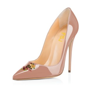 Women's Nude Floral Office Heels Pointed Toe Stiletto Heels Pumps
