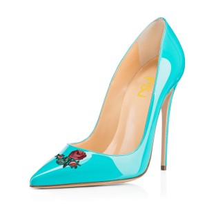 Women's Turquoise  Pointy Toe Rose Floral Office Heels Stiletto Heels Pumps