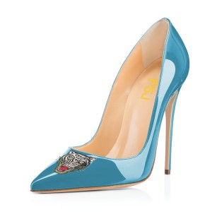 Blue Pointy Toe Tiger Floral Office Heels Stiletto Heels Pumps