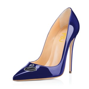 Women's Navy Swan Floral Office Heels Pointy Toe Stiletto Heels Pumps